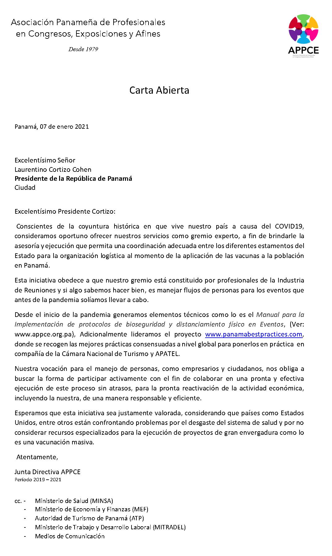 APPCE Comunicado #001-21